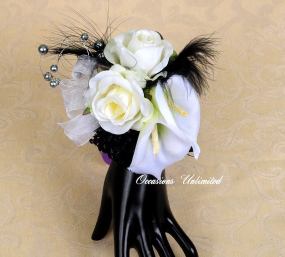 Prom Corsage - corsage, black and white lily rose  bling corsage- dance corsage- wrist corsage. wristlet