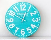 Vintage clock -Bruxelles turquoise- pseudo vintage birch clock hand painted  happy fresh turqouise color - DesignAtelierArticle