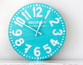 Hand made pseudo vintage  clock -Bruxelles turquoise- // Housewarming / Wedding gift // writing customisation // FREE SHIPPING WORLDWIDE