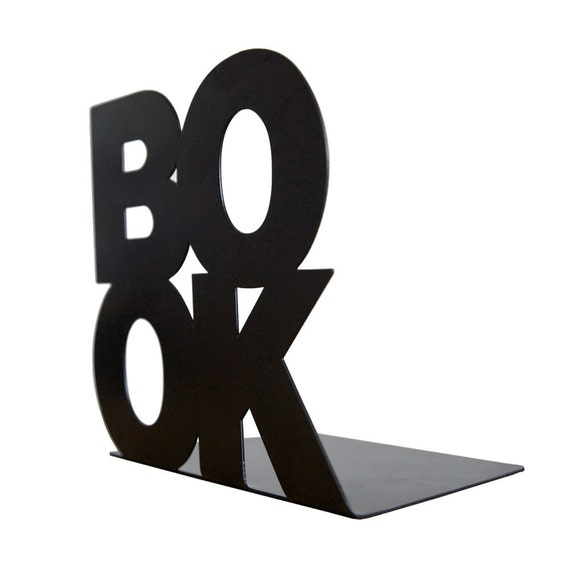 Modern stylish bookend // BookOne // Black FREE SHIPPING powder coated laser cut metal thick enough to hold books