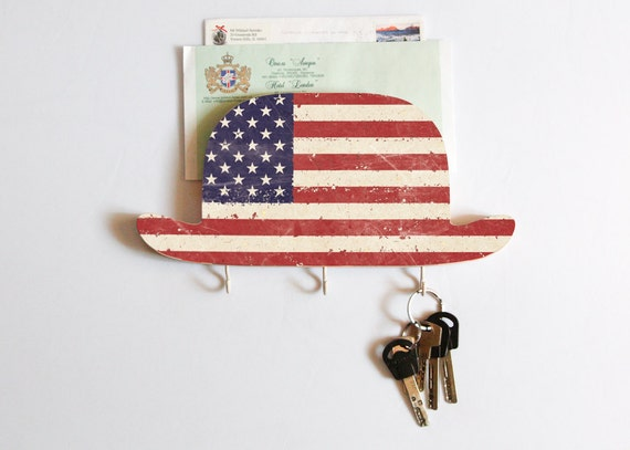 Key Hook - FREE SHIPPING - Wooden Wall bill key Organizer - Wood Shelf - My American Uncle-  for your keys, bills and letters