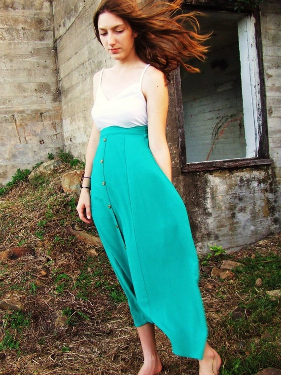Reworked Vintage Handmade Aqua Teal Maxi Skirt with Gold Button up Front and Elastic Waist