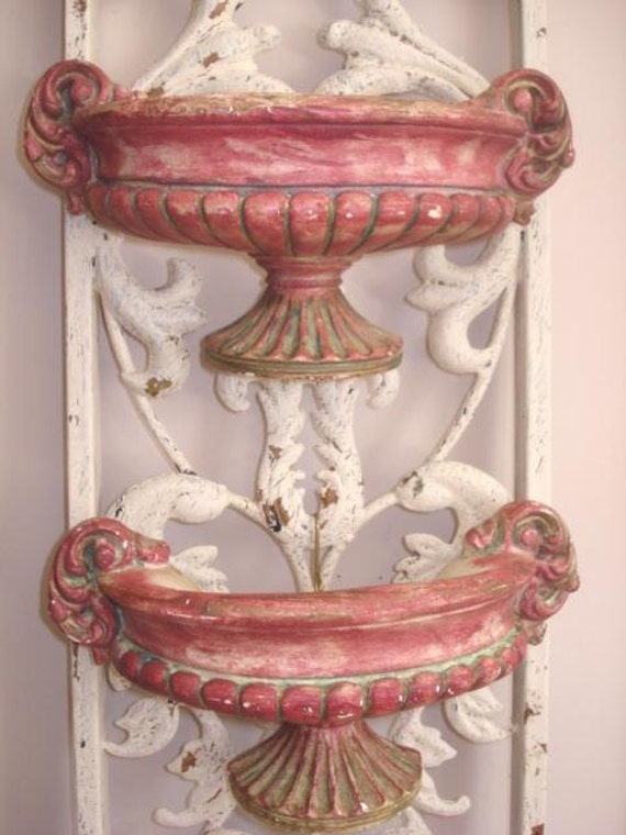Vintage French Farmhouse Urn Sconces Old Plaster Ornate Handles Wall Ornament Decor
