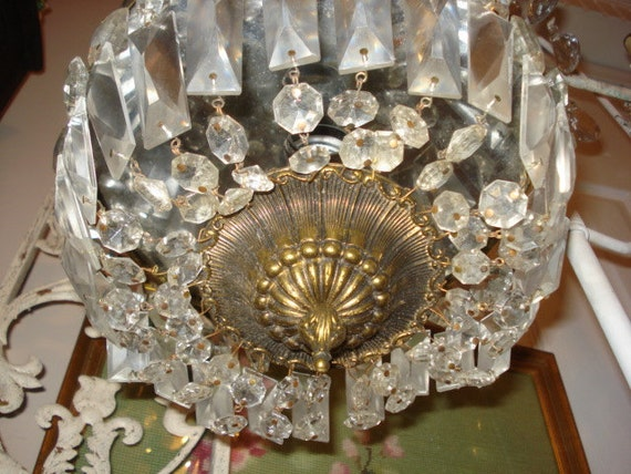 OMG Vintage French Crystal Dome Cage Chandelier Fixture Dripping Old Gorgeous Icicle Prisms