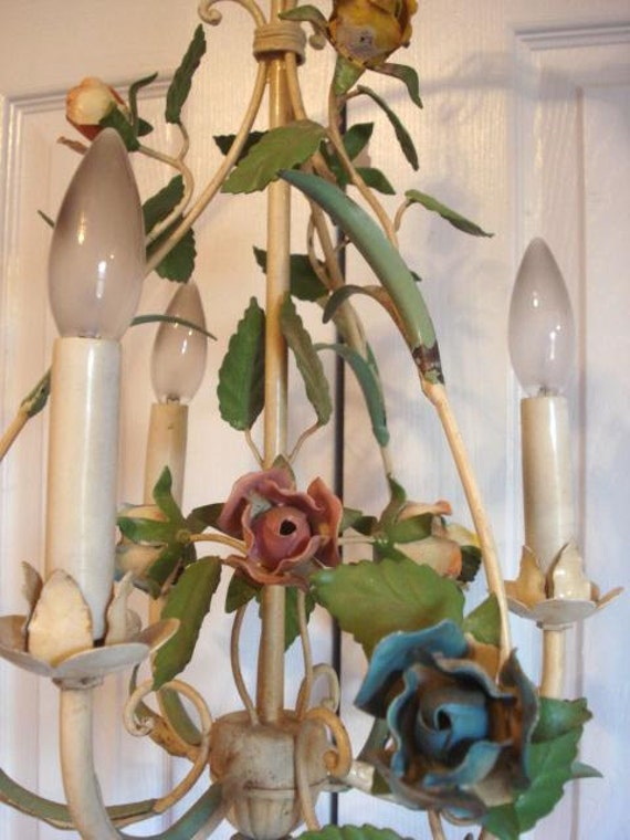 Reserved 4 Barbara    Vintage Tole Roses Chandelier Antique Italian Petite Size Shabby Chippy Patina