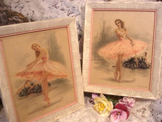 Vintage French Ballerina Art Prints Pink Amp White By
