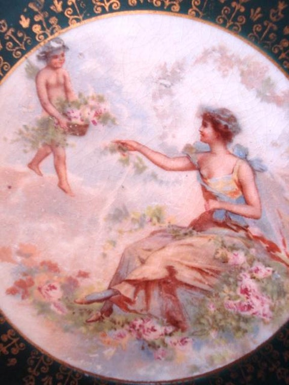 Vintage Cabinet Plate Victorian Maiden & Cherub Old Crescent China Pink Roses