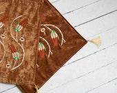 BIG SALE , Cinnamon color velvet pillow cover embroidered Turkish design (2 pieces)