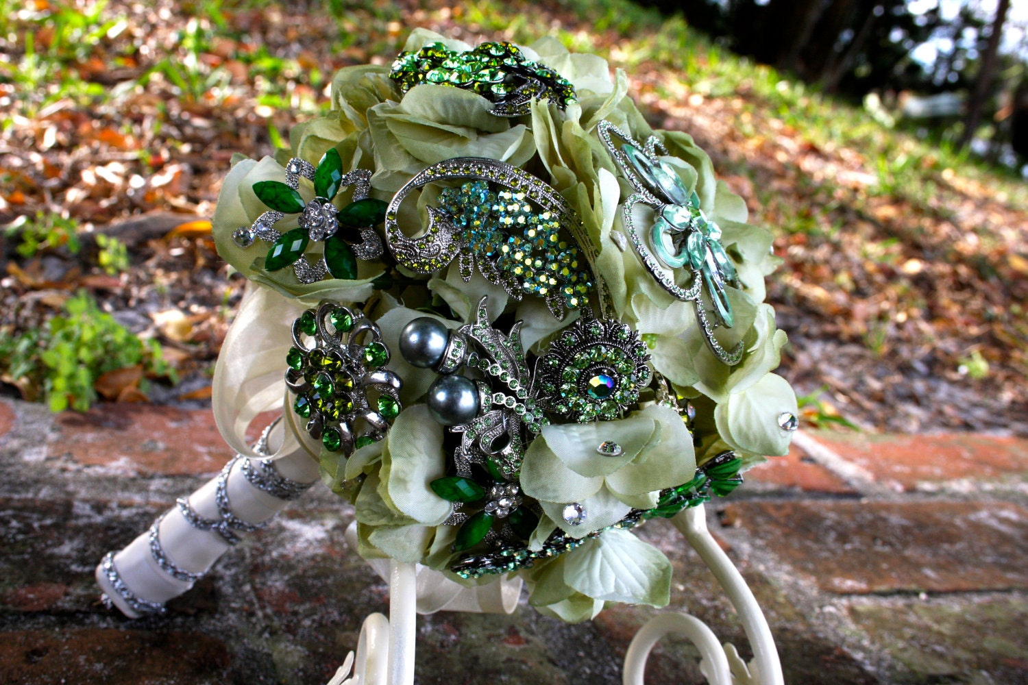 small green brooch bouquet