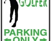 Golfer Parking Sign Decal
