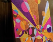 Geometry--bouncing colors on canvas