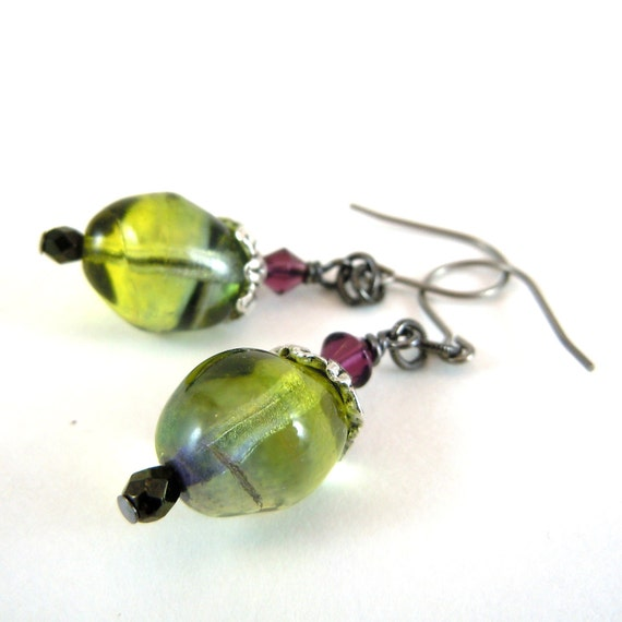 Bead dangle earrings - green, blue, purple vintage beads with titanium ear wires (E00028)
