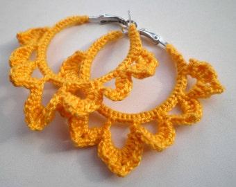 Earrings knit crochet yellow