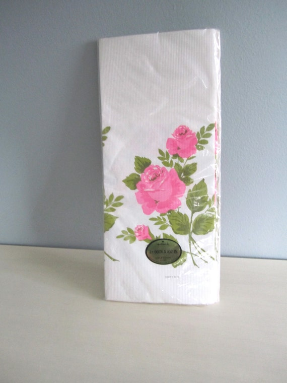 Vintage 1970s Paper Table Cloth New in Package Pink Roses
