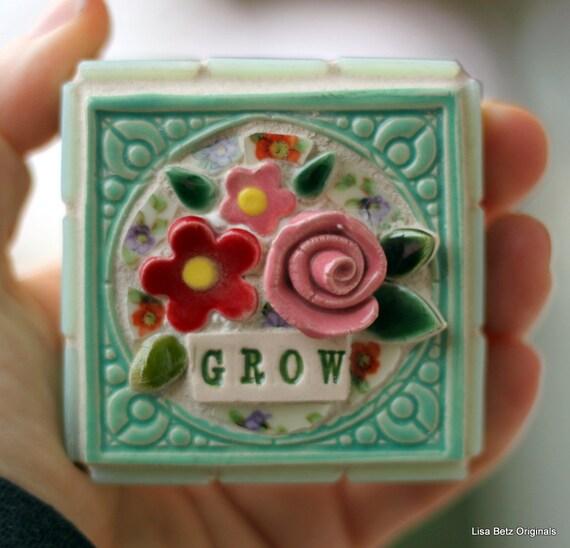 GROW mixed media mosaic