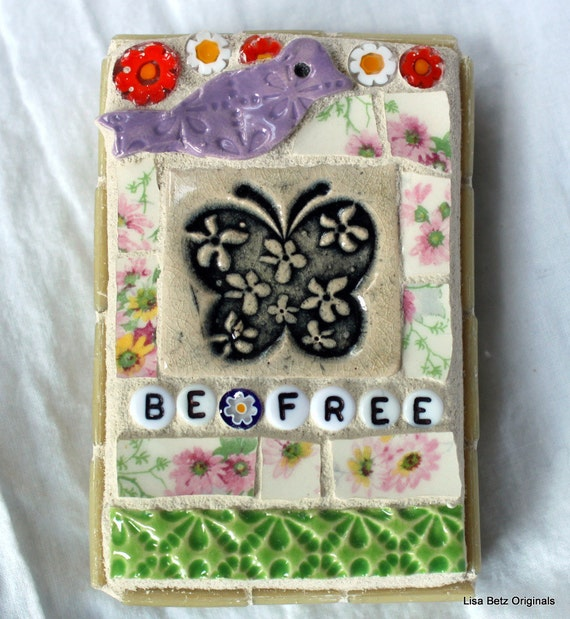 Be Free, Bird and Butterfly,  Mixed Media Mosaic Art