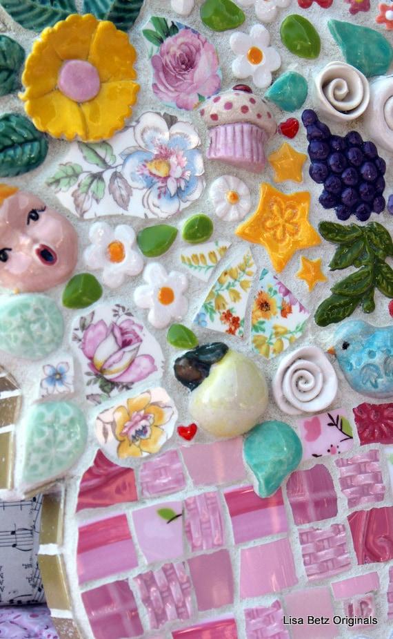 Fun filled flower pot, mixed media mosaic art