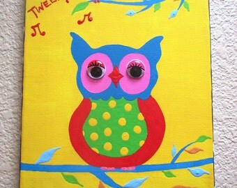 WISE OWL...Hand-painted Acrylic Painting on Canvas - for Kids nursery or playroom ...on a 8 x 10 canvas