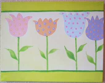 ON SALE NOW Cute, Gentle Tulips painting Handpainted Acrylic Painting on a 11x14 inch Canvas ...for Kids nursery ...combine to make set of 3