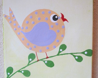ON SALE NOW Hayley Bird on a branch...Handpainted Acrylic Painting on a 8x10 inch canvas ...for Kids nursery or playroom