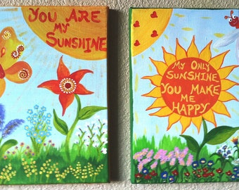 YOU are my SUNSHINE painting SET...handpainted acrylic painting on canvas ...for kids nursery ...2 gallery mounted canvases