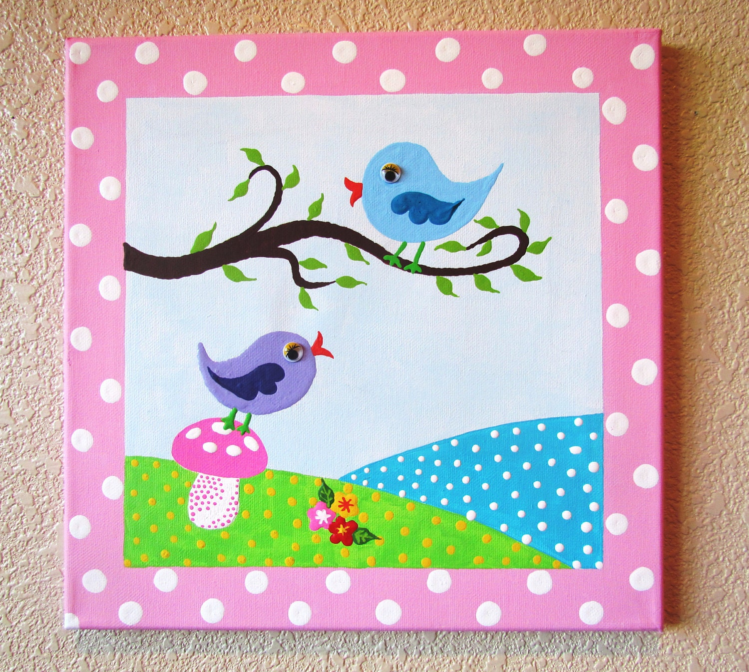 Hayley birds hand painted acrylic painting on canvas for for Canvas art ideas for kids