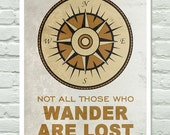 Compass Print Outdoors Poster - Inspirational Quote - 11x14