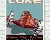 Grand Prix Poster Race Car 21 Print Personalized w/ Name & Date 11x14