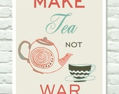 Tea Quote Kitchen Art Print  - coral / turquoise wall decor - 11x14