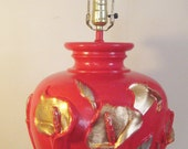 Tomato Red Lamp with Silver and Gold Calla Lily Appliques