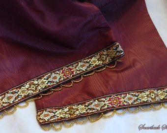 Burgundy Moire Taffeta  Scarf with Gold  Beading
