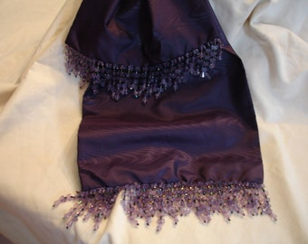 Purple Moire Taffeta  Scarf with Butterfly  Beading