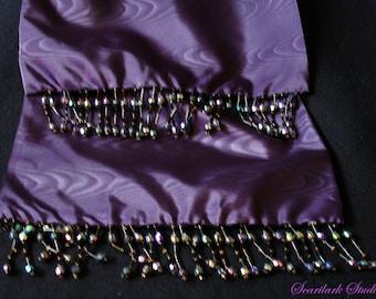 Purple Moire Taffeta  Scarf with dark Iridescent Beading