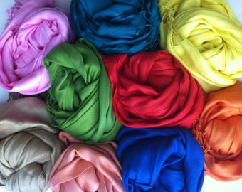 10 PASHMINA SHAWLS Any Colors. Bridesmaids gifts. Pashmina. Pashmina Scarf. Bridal Shawl. Wedding gifts. Bridesmaid favors