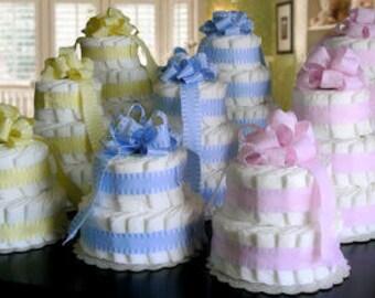 2 Layer Yellow - Classic Pastel Baby Shower Diaper Cake
