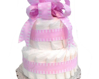 2 Layer Pink - Classic Pastel Baby Shower Diaper Cake