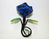 Blue and Black Ribbon Rose Pin