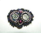 Iris and White Owl Brooch