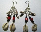 Cowie Shell and Coral Chandelier Earrings