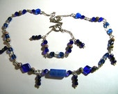 Dark Blue Goldstone Necklace and Matching Bracelet  On Sale Now for 75.00 reduced from 90.00