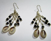 Cowrie Shell and Obsidian Chandelier Earrings