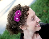 Black Satin Headband with Two Fuschia Spiral Petal Flowers