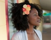 Tropical Cluster Headband - Six Crocheted Spiral Petal Flowers in Tangerine, Orange, Gold, and Pale Yellow