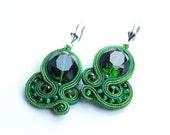 Emerald green soutache earrings GREeN crystals