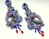 Soutache earrings purple lilac red violet colour waves