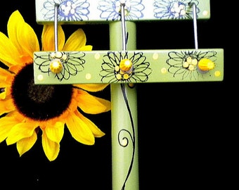 Sunflowers Twist-It  for friendship bracelets in green with black and yellow