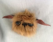 Hanging Monster Ornament Fuzzy Cute Beast Faux Taxidermy Upcycled Recycled Reuse Fake Fur