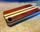 IPHONE 4 and 4s CASE  rich polished exotic ROSEWOOD and maple  back ,real wood ,sharp looking silver edge