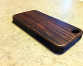 IPHONE 4 and 4s CASE , real wood rich polished EXOTIC bois de rose back ,sharp looking black edge