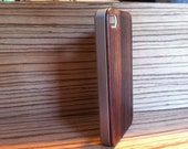 IPHONE 4/4s  CASE hand  polished exotic bois de rose back ,real wood ,sharp  metal looking  silver edge edge